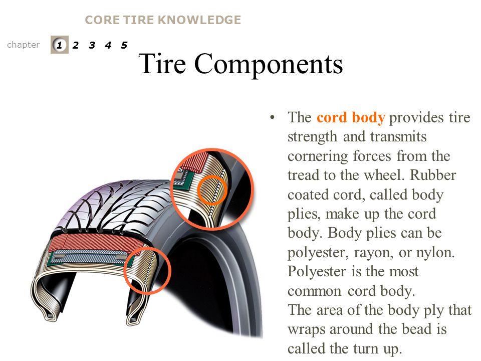 CORE TIRE KNOWLEDGE Tire Components. chapter. 1 2 3 4 5. PARTS OF A TIRE. Cord Body. [ tire casing ]
